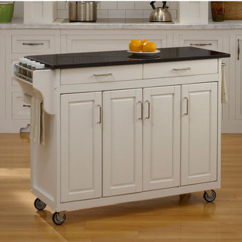 Mix and Match Create-a-Cart w/ White Finish and Black Granite Top by Home Styles
