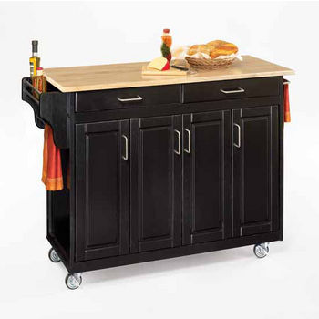 Mix and Match Create-a-Cart Black Finish Wood Top