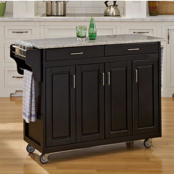 Mix and Match Create-a-Cart w/ Black Finish and Salt & Pepper Granite Top by Home Styles