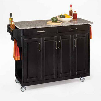 Mix and Match Create-a-Cart Black Finish Salt & Pepper Granite Top