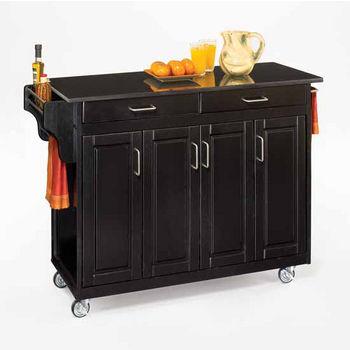 Mix and Match Create-a-Cart Black Finish Black Granite Top