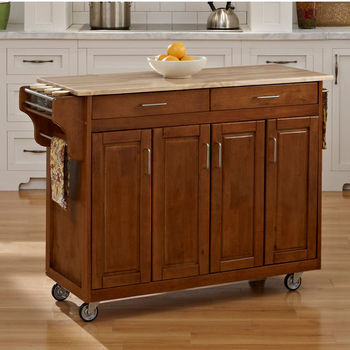 Mix and Match Create-a-Cart w/ Dark Cottage Oak Finish and Wood Top by Home Styles
