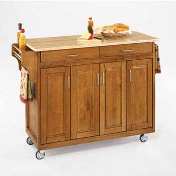 Mix and Match Create-a-Cart Dark Cottage Oak Finish Wood Top