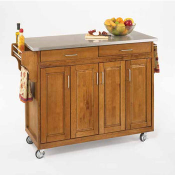 Mix and Match Create-a-Cart Dark Cottage Oak Finish SS Top