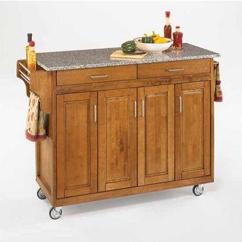 Mix and Match Create-a-Cart Dark Cottage Oak Finish Salt & Pepper Granite Top