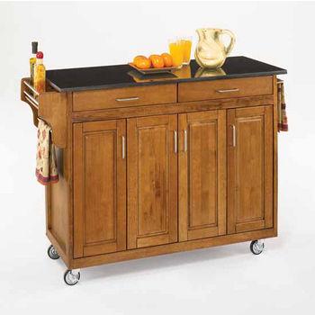Mix and Match Create-a-Cart Dark Cottage Oak Finish Black Granite Top