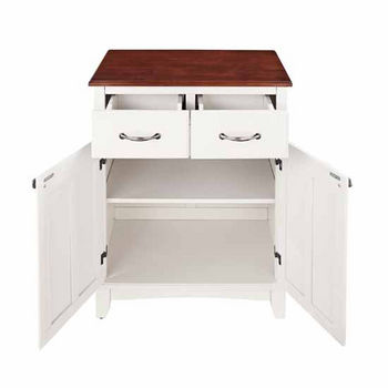Mix & Match Buffet Server with Dark Cottage Oak Stained Base and Stainless Steel Top