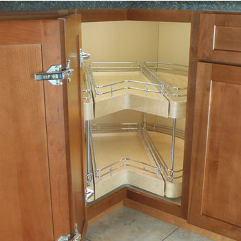 Omega National Easy Access Corner Pantry, Double Shelf Unit with 2 Full Extension Drawers