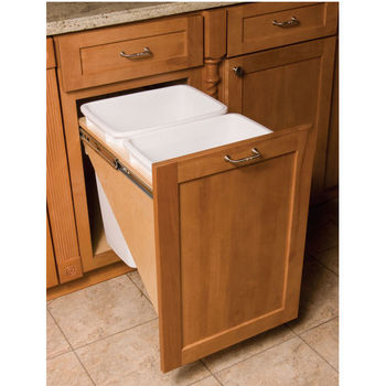 pull out built in trash cans cabinet slide out under sink kitchen trash cans. Black Bedroom Furniture Sets. Home Design Ideas