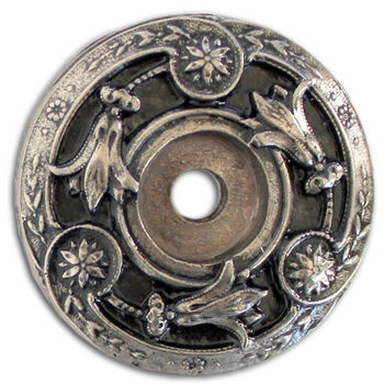 Notting Hill Jewels Collection 1 5/16u0027u0027 Diameter Jeweled Lily Round Cabinet  Backplate In Brite Nickel, 1 5/16u0027u0027.