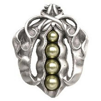 Notting Hill Kitchen Garden Collection 1-5/8'' Wide Pearly Peapod Cabinet Knob in Antique Pewter, 1-5/8'' W x 1-1/8'' D x 2'' H