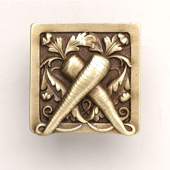 Notting Hill Kitchen Garden Collection 1-1/2'' Wide Leafy Carrot Square Cabinet Knob in Antique Brass, 1-1/2'' W x 7/8'' D x 1-1/2'' H