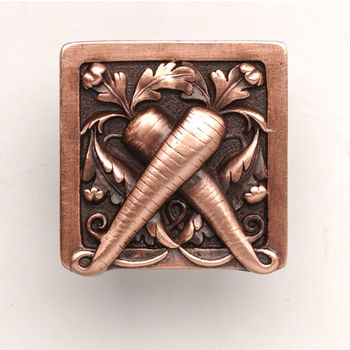Notting Hill Kitchen Garden Collection 1-1/2'' Wide Leafy Carrot Square Cabinet Knob in Antique Copper, 1-1/2'' W x 7/8'' D x 1-1/2'' H