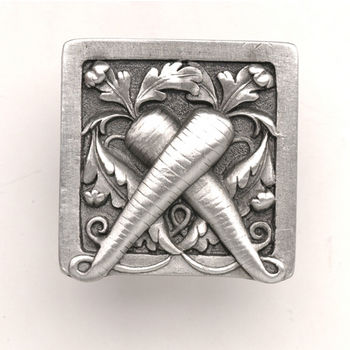 Notting Hill Kitchen Garden Collection 1-1/2'' Wide Leafy Carrot Square Cabinet Knob in Antique Pewter, 1-1/2'' W x 7/8'' D x 1-1/2'' H