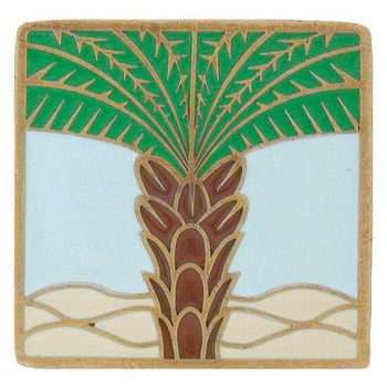 Notting Hill Tropical Collection 1-1/2'' Wide Royal Palm/Pale Blue Square Cabinet Knob in Enameled Antique Brass, 1-1/2'' W x 7/8'' D x 1-1/2'' H