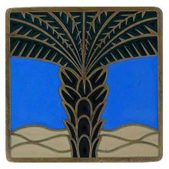 Notting Hill Tropical Collection 1-1/2'' Wide Royal Palm/Periwinkle Square Cabinet Knob in Enameled Antique Brass, 1-1/2'' W x 7/8'' D x 1-1/2'' H