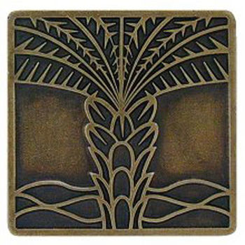 Notting Hill Tropical Collection 1-1/2'' Wide Royal Palm Square Cabinet Knob in Antique Brass, 1-1/2'' W x 7/8'' D x 1-1/2'' H