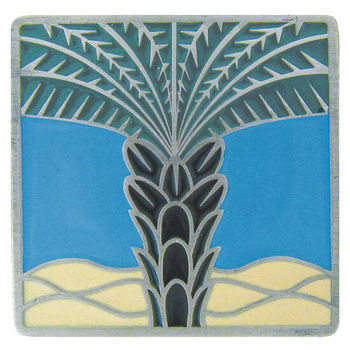 Notting Hill Tropical Collection 1-1/2'' Wide Royal Palm/Periwinkle Square Cabinet Knob in Enameled Antique Pewter, 1-1/2'' W x 7/8'' D x 1-1/2'' H