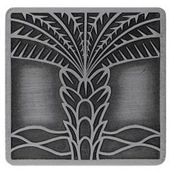 Notting Hill Tropical Collection 1-1/2'' Wide Royal Palm Square Cabinet Knob in Antique Pewter, 1-1/2'' W x 7/8'' D x 1-1/2'' H