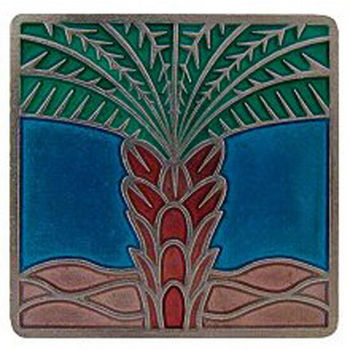 Notting Hill Tropical Collection 1-1/2'' Wide Royal Palm/Turquoise Square Cabinet Knob in Enameled Brilliant Pewter, 1-1/2'' W x 7/8'' D x 1-1/2'' H
