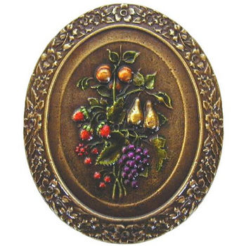 Knob, Fruit Bouquet, Hand Tinted Brass