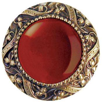 Knob, Victorian Jewel, Red Carnelian, Antique Brass