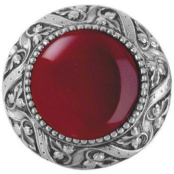Knob, Victorian Jewel, Red Carnelian, Antique Pewter