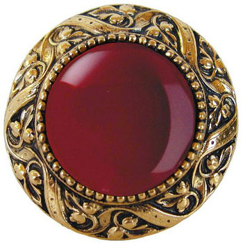 Knob, Victorian Jewel, Red Carnelian, Brite Brass