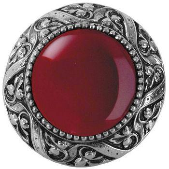 Knob, Victorian Jewel, Red Carnelian, Brite Nickel