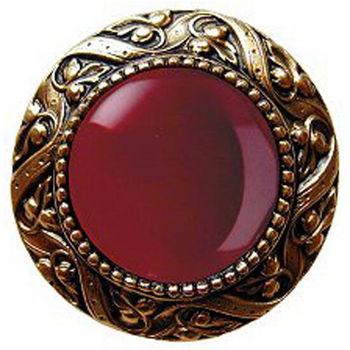 Knob, Victorian Jewel, Red Carnelian, 24K Gold Plate