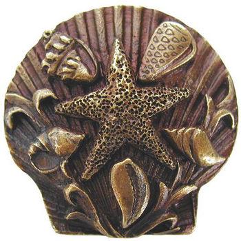 Knob, Seaside Collage, Antique Brass