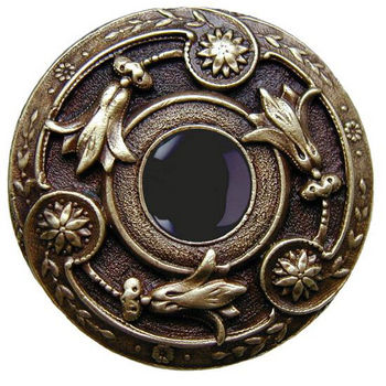 """Notting Hill Jewels Collection 1-3/8"""" Diameter Jeweled Lily Round Knob in Antique Brass with Onyx Natural Stone, 1-3/8"""" Diameter x 1-1/8"""" D"""