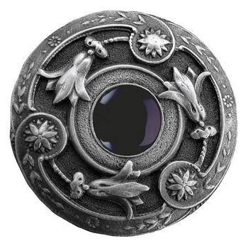 """Notting Hill Jewels Collection 1-3/8"""" Diameter Jeweled Lily Round Knob in Antique Pewter with Onyx Natural Stone, 1-3/8"""" Diameter x 1-1/8"""" D"""