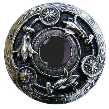 """Notting Hill Jewels Collection 1-3/8"""" Diameter Jeweled Lily Round Knob in Brite Nickel with Onyx Natural Stone, 1-3/8"""" Diameter x 1-1/8"""" D"""