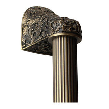 Notting Hill Florals & Leaves Collection 12'' to 16'' Wide Florid Leaves Fluted Bar Appliance Pull in Antique Brass