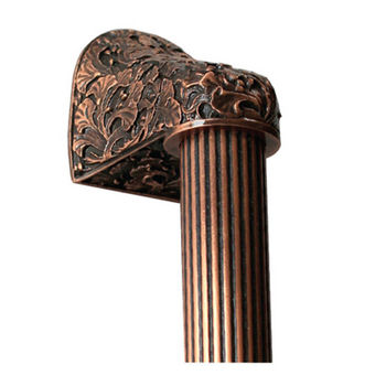 Notting Hill Florals & Leaves Collection 12'' to 16'' Wide Florid Leaves Fluted Bar Appliance Pull in Antique Copper