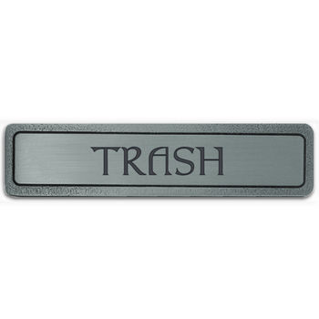 Notting Hill Kitchen ID Collection 4'' Wide (Horizontal) ''Trash'' Cabinet Pull in Antique Pewter, 4'' W x 7/8'' D x 7/8'' H