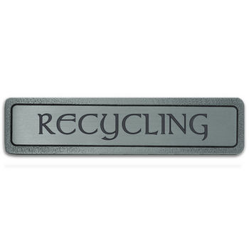 Notting Hill Kitchen ID Collection 4'' Wide Horizontal) ''Recycling'' Cabinet Pull in Antique Pewter, 4'' W x 7/8'' D x 7/8'' H