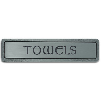 Notting Hill Kitchen ID Collection 4'' Wide (Horizontal) ''Towels'' Cabinet Pull in Antique Pewter, 4'' W x 7/8'' D x 7/8'' H
