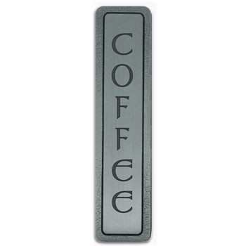 Notting Hill Kitchen ID Collection 4'' Wide (Vertical) ''Coffee'' Cabinet Pull in Antique Pewter, 4'' W x 7/8'' D x 7/8'' H