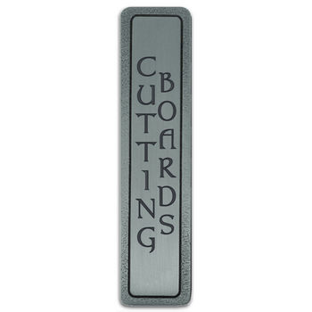 Notting Hill Kitchen ID Collection 4'' Wide (Vertical - 2 Lines) ''Cutting Boards'' Cabinet Pull in Antique Pewter, 4'' W x 7/8'' D x 7/8'' H