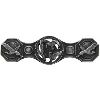 Notting Hill Lodge & Nature Collection 3-7/8'' Wide Crane Dance Cabinet Pull in Antique Pewter, 3-7/8'' W x 7/8'' D x 1-1/8'' H