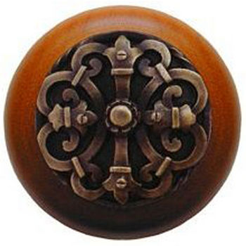 Notting Hill Chateau Collection 1-1/2'' Diameter Chateau Cherry Wood Round Knob in Antique Brass, 1-1/2'' Diameter x 1-1/8'' D