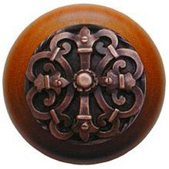 Notting Hill Chateau Collection 1-1/2'' Diameter Chateau Cherry Wood Round Knob in Antique Copper, 1-1/2'' Diameter x 1-1/8'' D