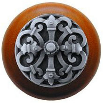 Notting Hill Chateau Collection 1-1/2'' Diameter Chateau Cherry Wood Round Knob in Antique Pewter, 1-1/2'' Diameter x 1-1/8'' D