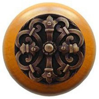 Notting Hill Chateau Collection 1-1/2'' Diameter Chateau Maple Wood Round Knob in Antique Brass, 1-1/2'' Diameter x 1-1/8'' D