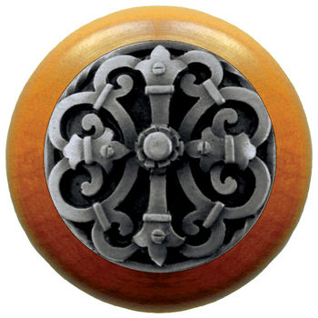 Notting Hill Chateau Collection 1-1/2'' Diameter Chateau Maple Wood Round Knob in Antique Pewter, 1-1/2'' Diameter x 1-1/8'' D
