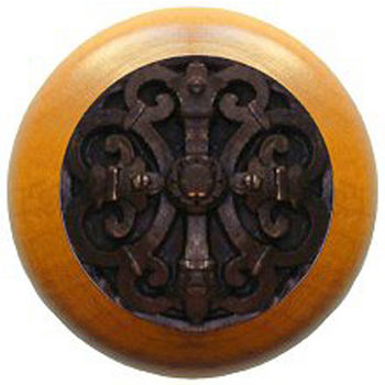 Notting Hill Chateau Collection 1-1/2'' Diameter Chateau Maple Wood Round Knob in Dark Brass, 1-1/2'' Diameter x 1-1/8'' D