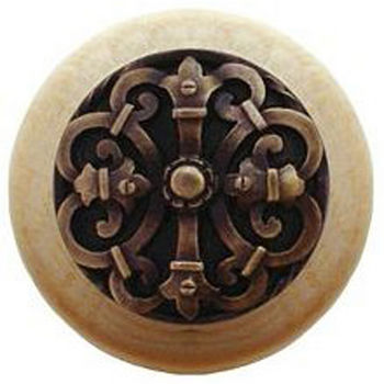 Notting Hill Chateau Collection 1-1/2'' Diameter Chateau Natural Wood Round Knob in Antique Brass, 1-1/2'' Diameter x 1-1/8'' D