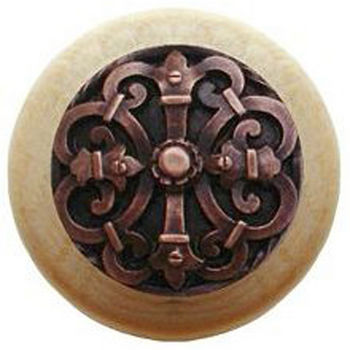 Notting Hill Chateau Collection 1-1/2'' Diameter Chateau Natural Wood Round Knob in Antique Copper, 1-1/2'' Diameter x 1-1/8'' D